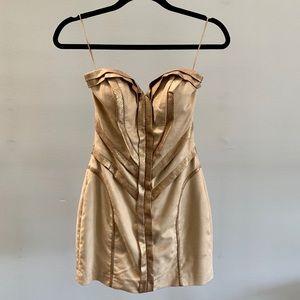 Gold & suede snake skin detail dress